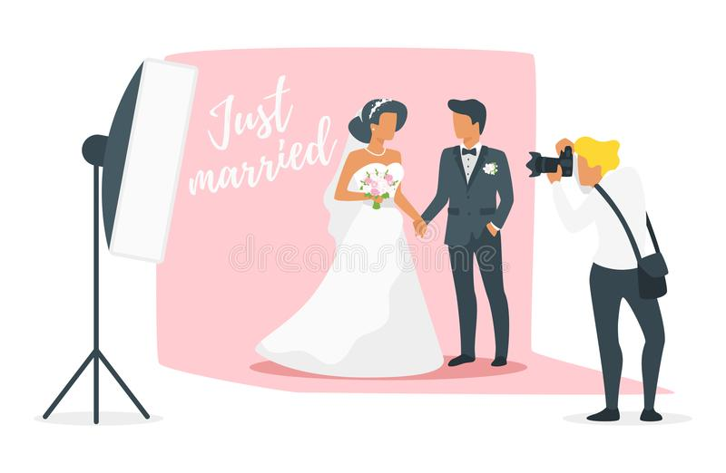 Marriage day photo session. Vector flat style illustration of man in suit and woman in wedding dress standing and holding hands. Marriage day photo session stock illustration