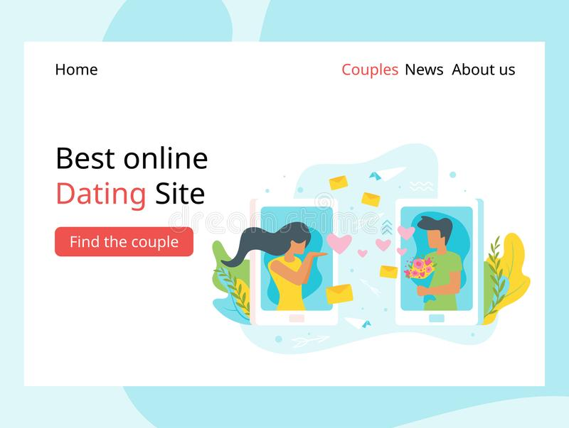 Dating agency landing page template. Vector flat style illustration of a man and woman having online relationship. Minimalism design with exaggerated objects vector illustration