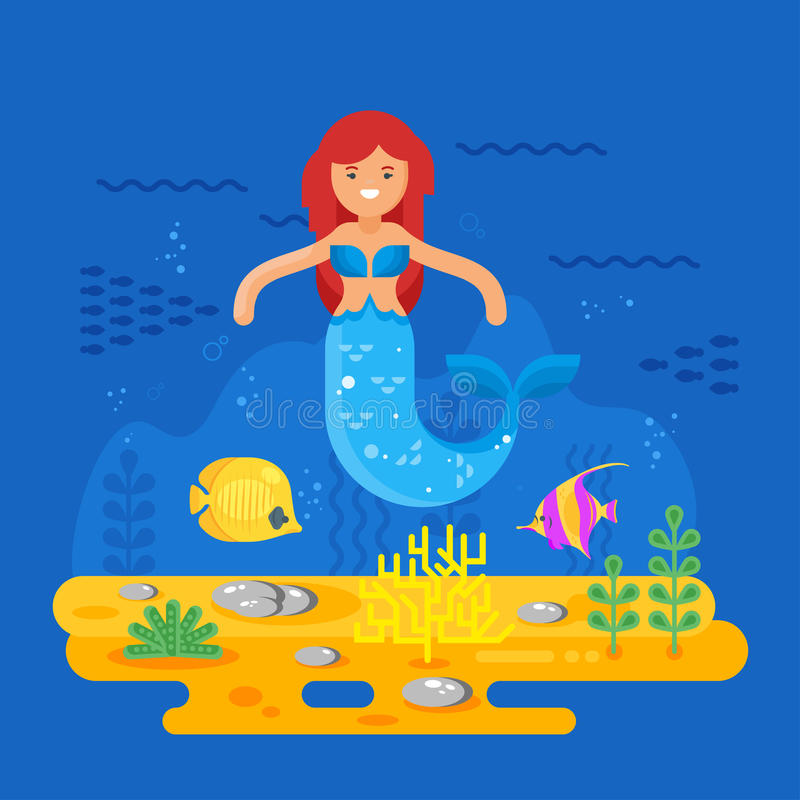 Vector flat style illustration of mermaid, coral reef, fish and sea life vector illustration