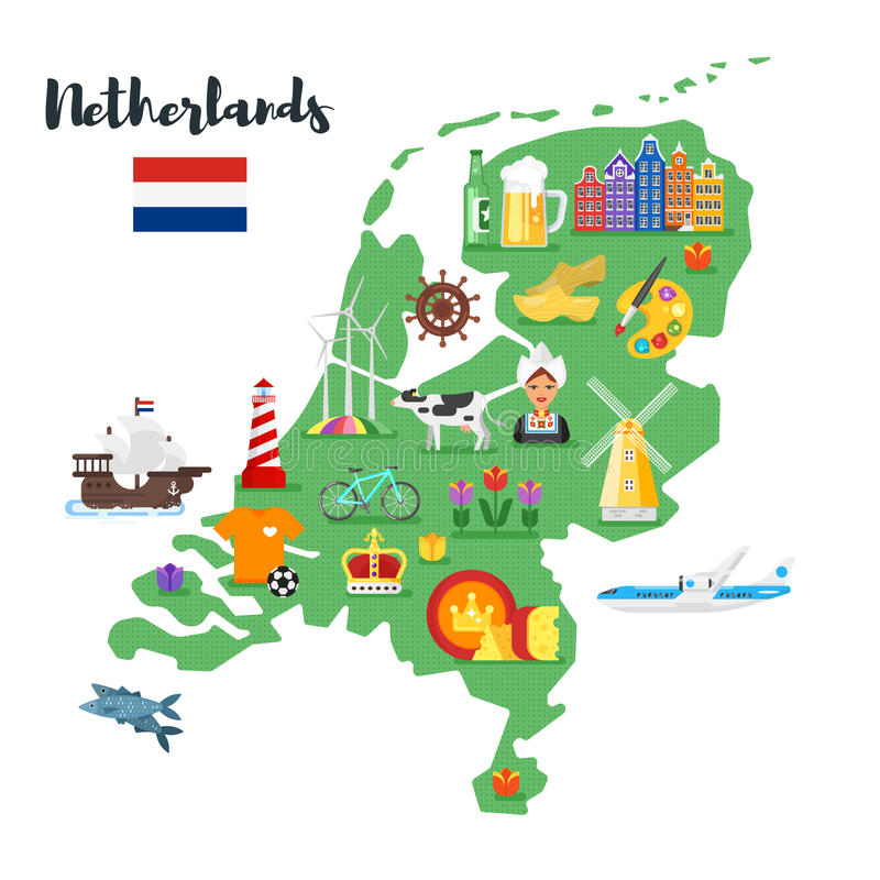 Vector flat style illustration of Netherlands map with Holland national cultural symbols. Isolated on white background royalty free illustration