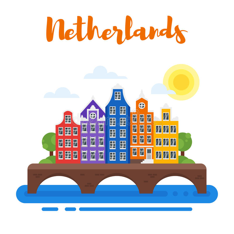 Vector flat style illustration of Netherlands traditional houses. Template for banner or poster for tourist. Isolated on white background stock illustration