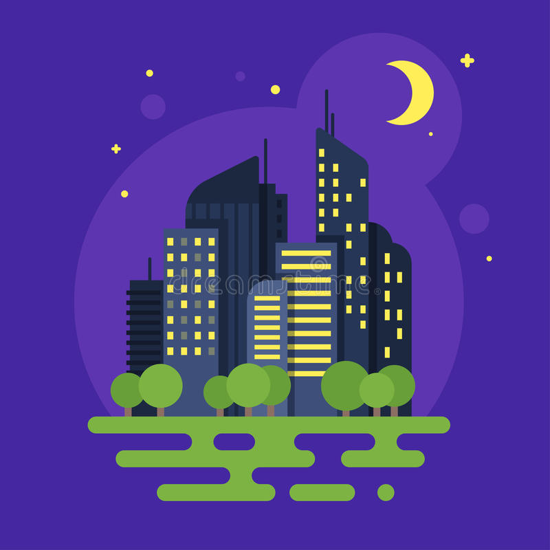Free Vector Flat Style Illustration Of Night City. Moon And Buildings Stock Photography - 79694052