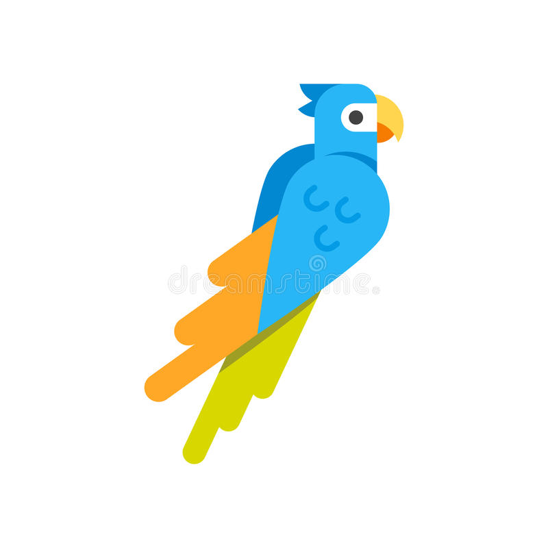 Vector flat style illustration of parrot. royalty free illustration