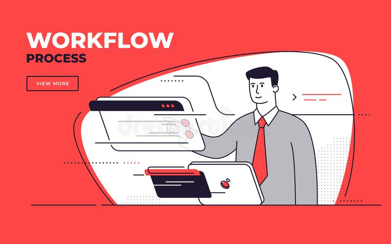 Vector flat style illustration on a workflow management, process efficiency, business control stock photography