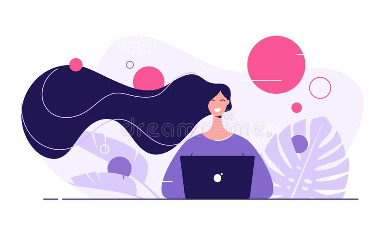 Vector flat style illustration of a young beautiful woman with laptop surrounded by tropical leaves.  vector illustration