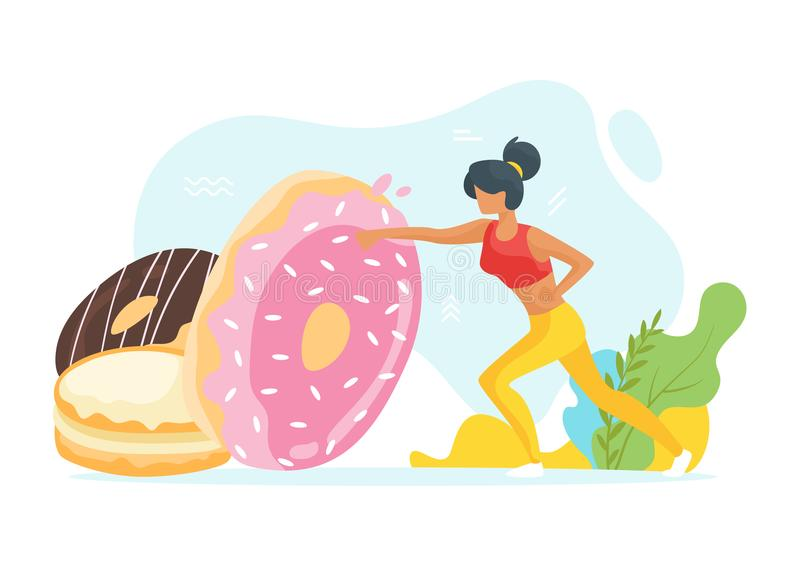 Healthy lifestyle concept. Vector flat style illustration of young fit sporty woman beats unhealthy doughnuts. Losing weight and healthy lifestyle concept vector illustration