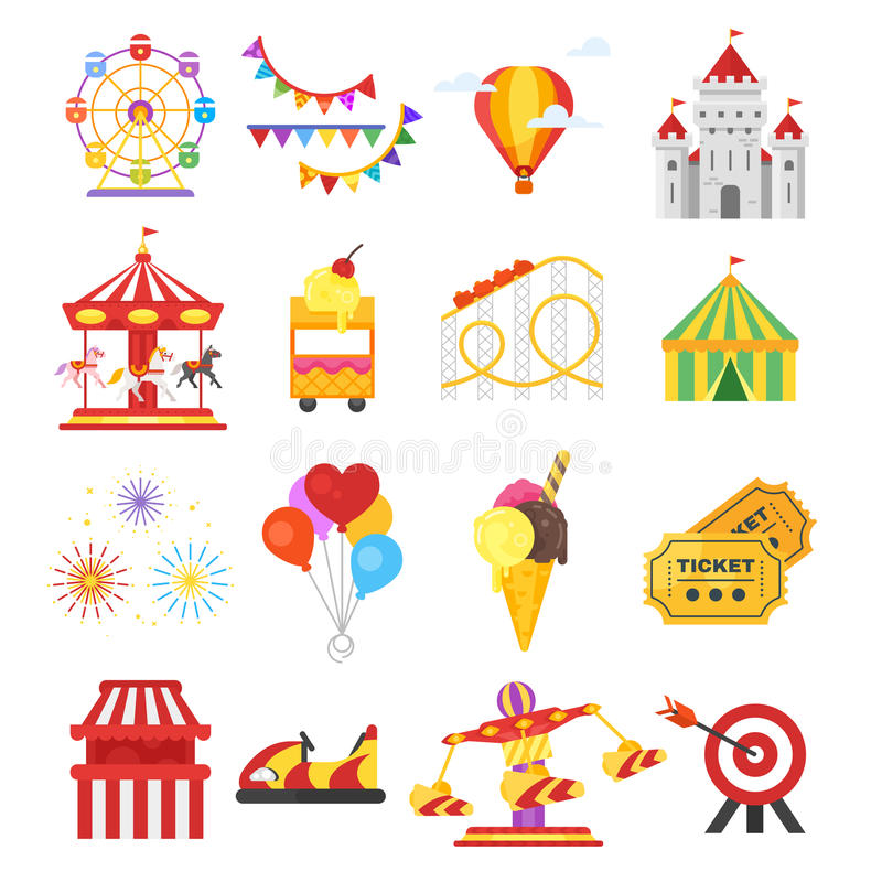 Vector flat style set of amusement park fun icons. Isolated on white background. Icon for web stock illustration