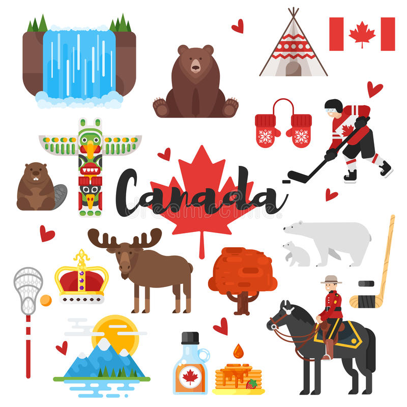 Vector flat style set of Canadian national cultural symbols. Icon for web. Isolated on white background royalty free illustration