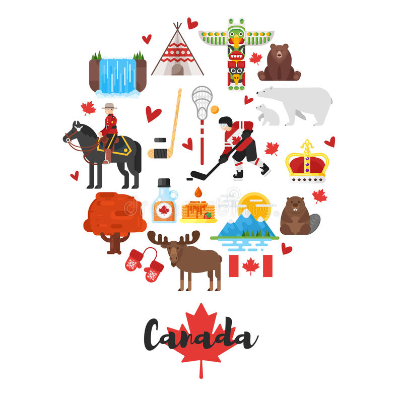 Vector flat style set of Canadian national cultural symbols. Template for banner or poster for tourist. Isolated on white background stock illustration