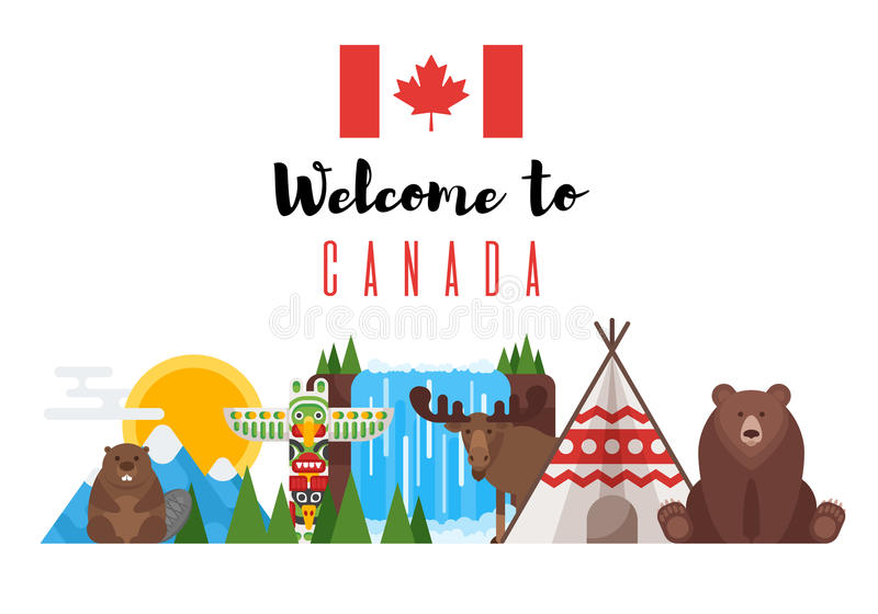 Vector flat style set of Canadian national objects. Icon for web. Isolated on white background vector illustration