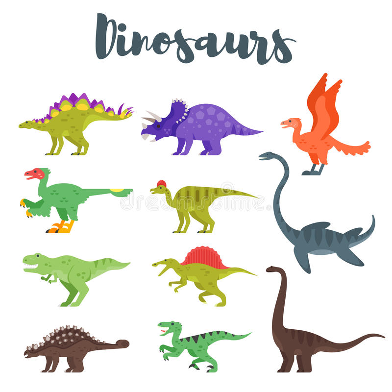 Vector flat style set of colorful prehistoric dinosaurs. Isolated on white background vector illustration
