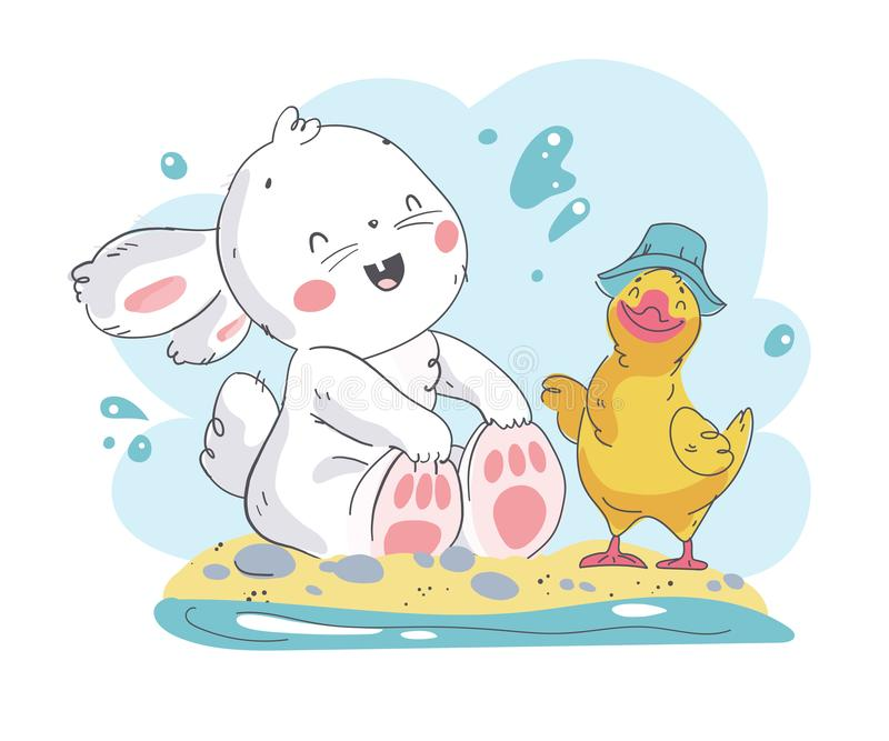 Vector flat summer illustration of cute white baby bunny character and little duck sitting on beach. stock illustration