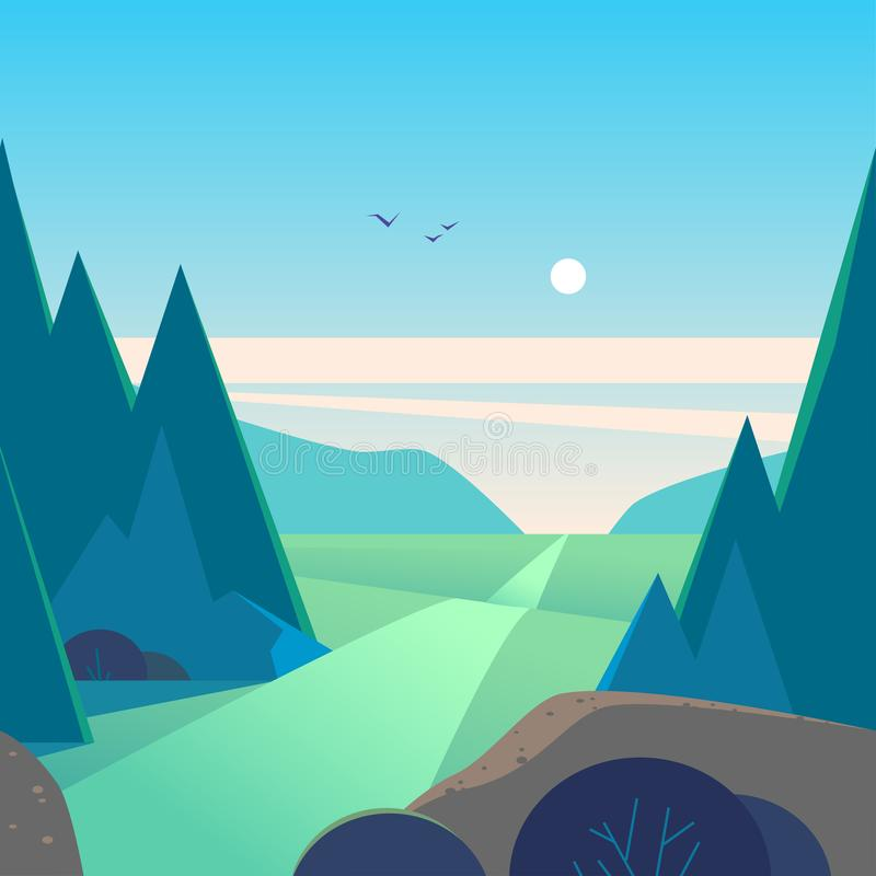 Vector flat summer landscape illustration with mountains, sun, fir trees, road, bush, meadows and blue clouded sky. stock illustration
