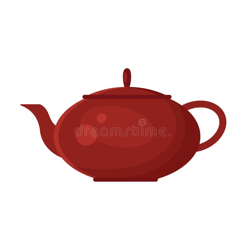 Vector flat teapot icon logo on white background. Tea symbol, design element for restaurant menu, recipe royalty free illustration