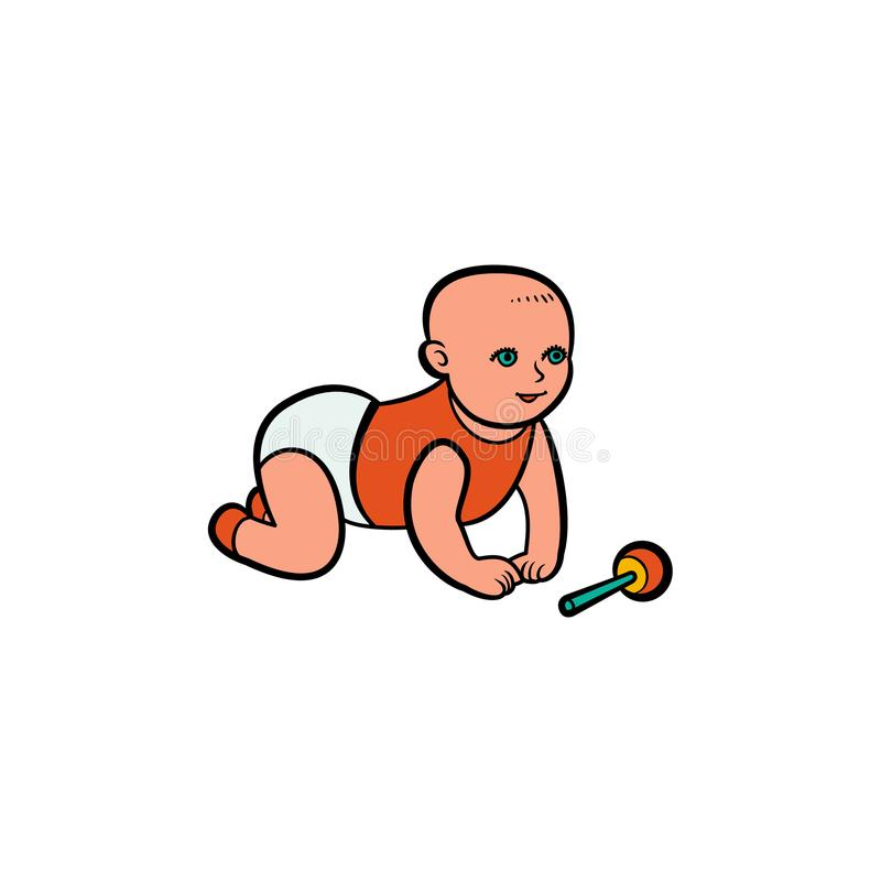 Vector flat toddler playing with rattle toy. Vector flat toddler, infant hairless adorable little baby in diaper playing with rattle toy. Isolated illustration vector illustration