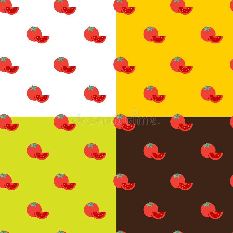 Vector flat tomatos seamless pattern stock illustration