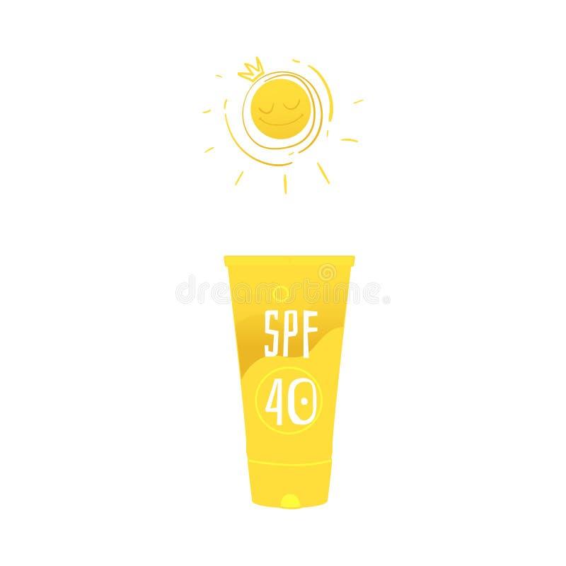 Vector flat beach suntan uv cream yellow bottle vector illustration