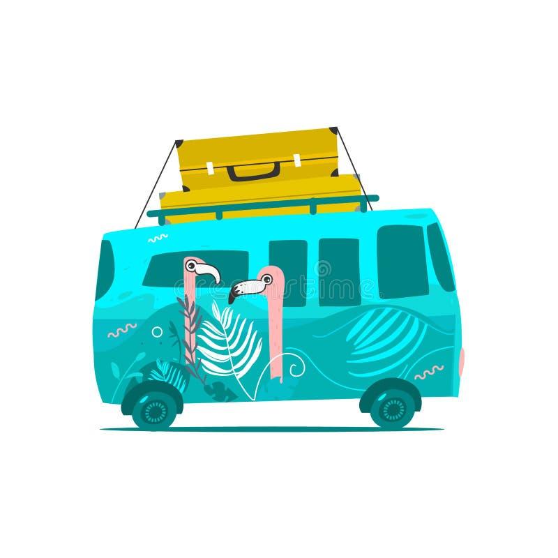 Vector flat travelling vintage minivan car. Vector flat cartoon vintage hippie minivan vehicle with big bags at its roof. Green car with pink flamingos print stock illustration