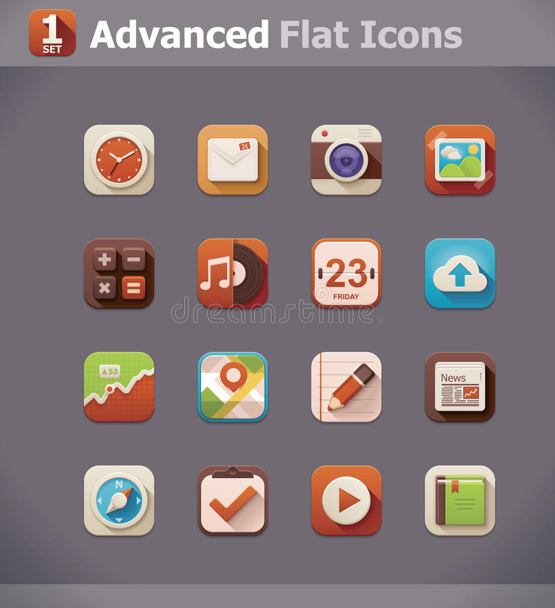 Vector flat UI icons vector illustration