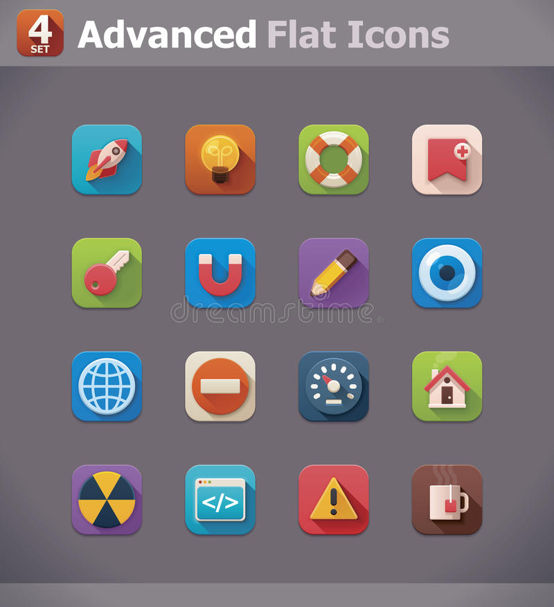 Vector flat UI icons stock illustration