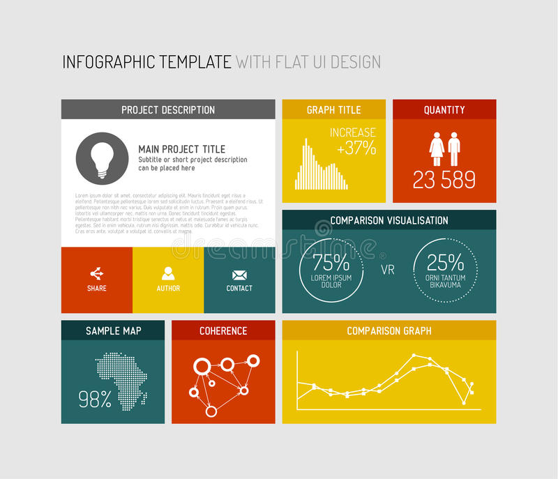 Vector flat user interface infographic. Vector flat user interface (UI) infographic template / design vector illustration