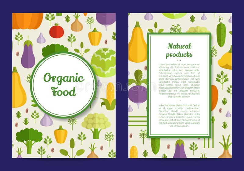 Vector flat vegetables vegan, healthy food card, brochure, flyer template. Vector handdrawn fruits and vegetables card, brochure, flyer template. Organic food stock illustration