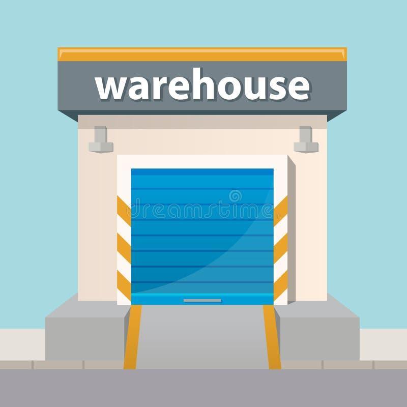 Vector flat warehouse building icon. Vector flat warehouse building icon stock illustration