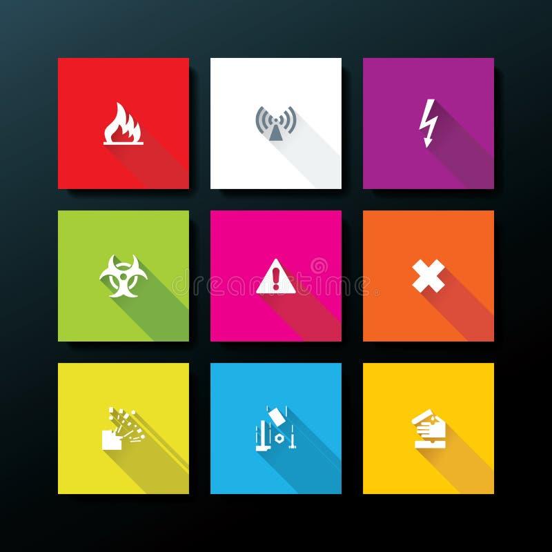 Vector flat warning icon set stock illustration