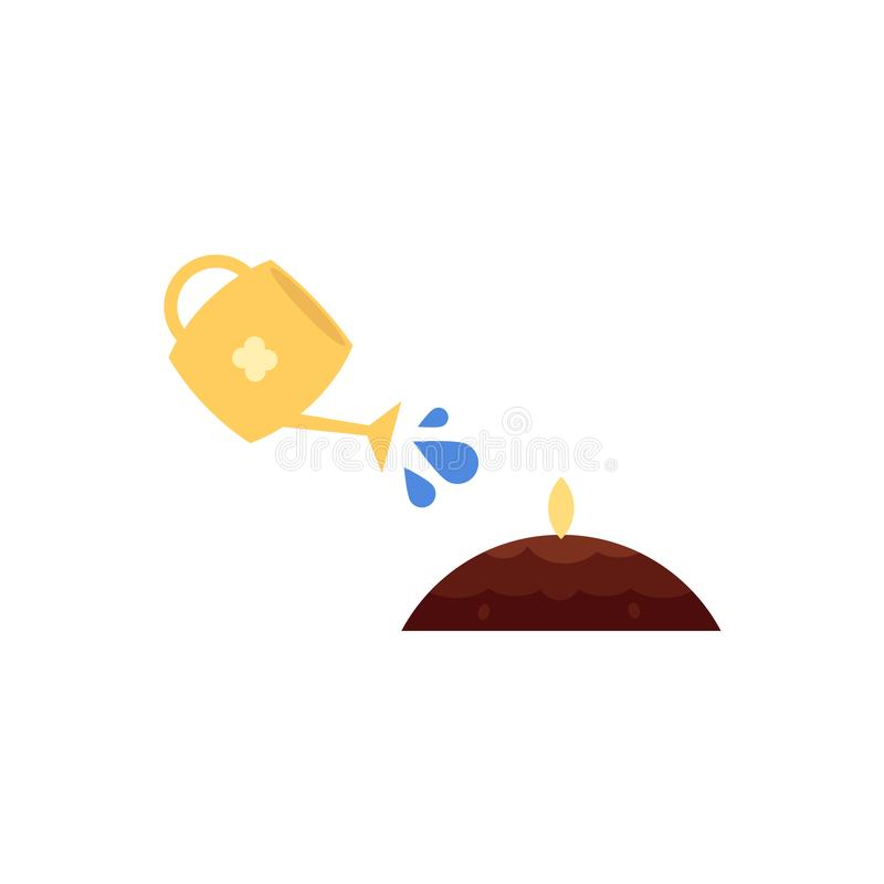 Vector flat watering can pouring water ground seed stock illustration