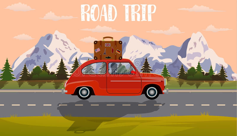 Vector flat web banner on the theme of Road trip, stock illustration