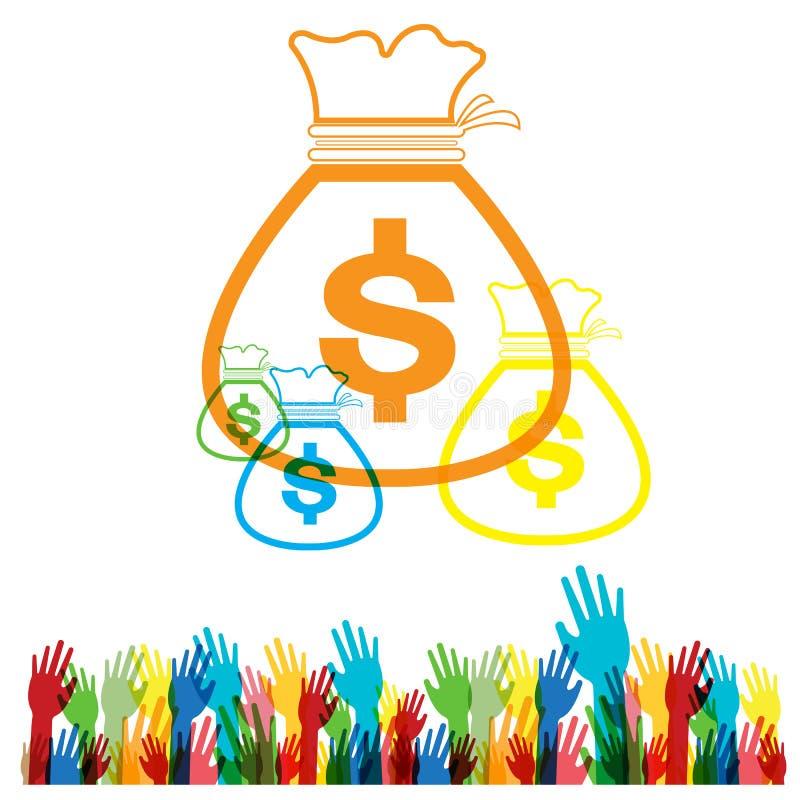 Vector Flat web icon hand Money bag set on white background royalty free illustration