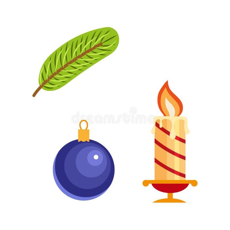 Vector Flat Winter Holiday Christmas Symbols Set Stock Vector