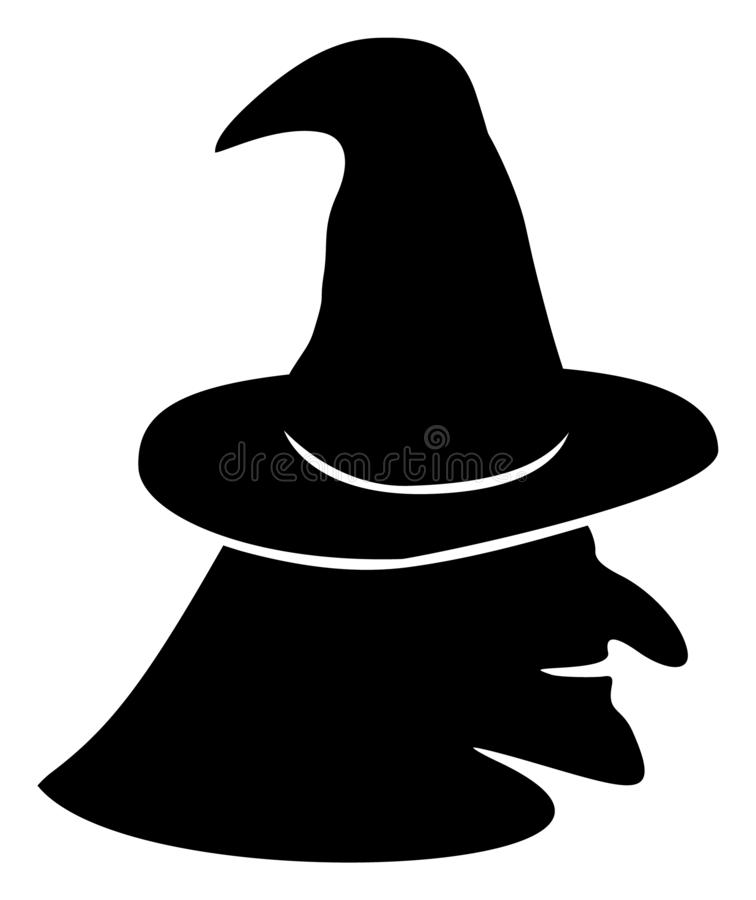 Vector Flat Witch Face Icon royalty free illustration