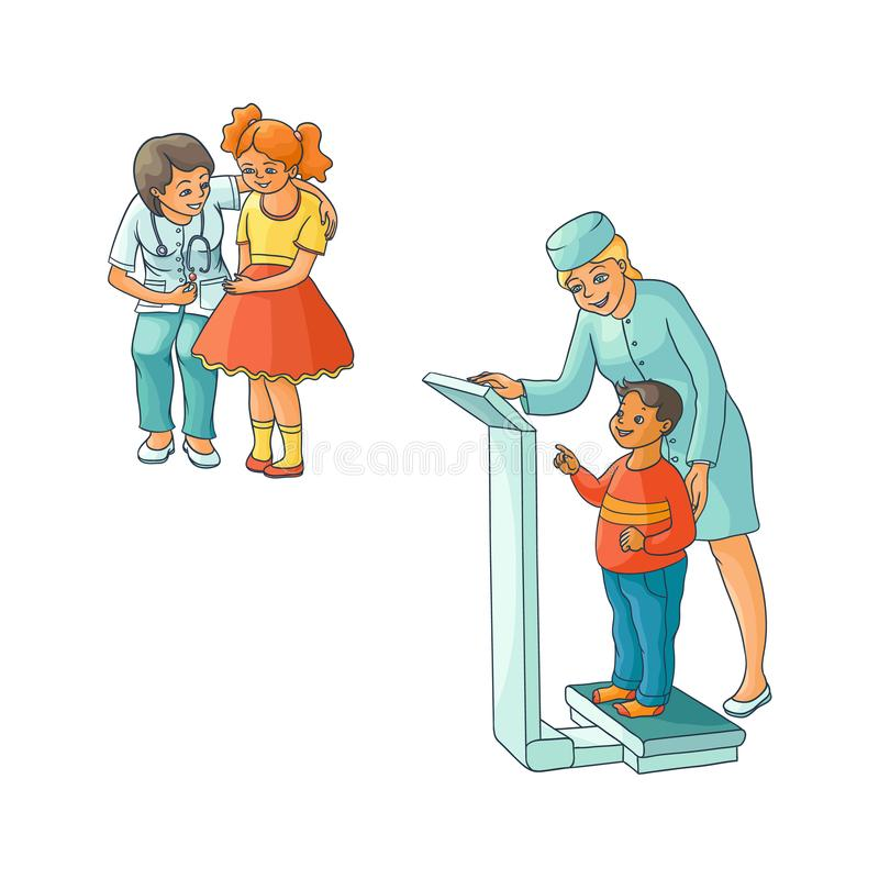 Vector flat female doctor teen kids scene set. Vector flat Woman pediatrician and teen kids scenes set. Female doctor measuring the weight of boy child, another vector illustration