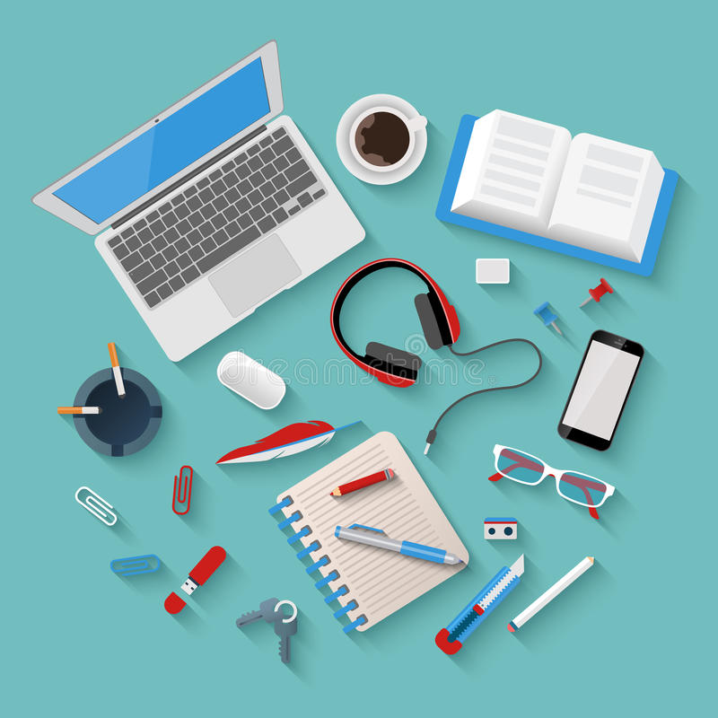 Vector flat workplace mockup: laptop, phone, notepad, office vector illustration