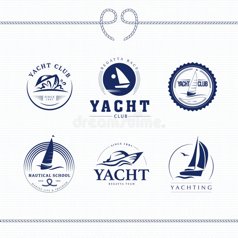 Vector flat yacht club, regatta logo design set. royalty free illustration