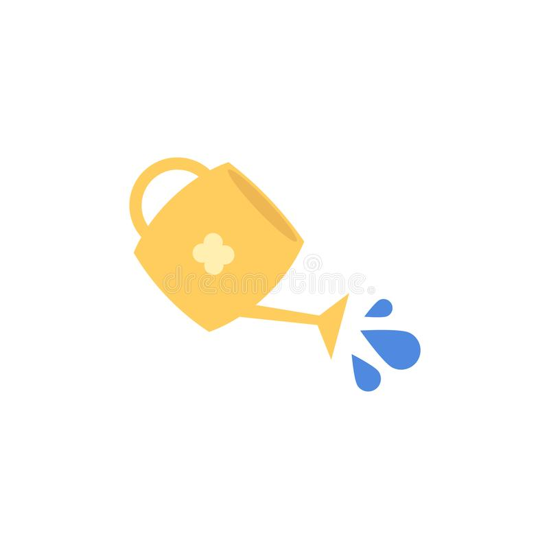Vector flat yellow watering can with pouring water vector illustration