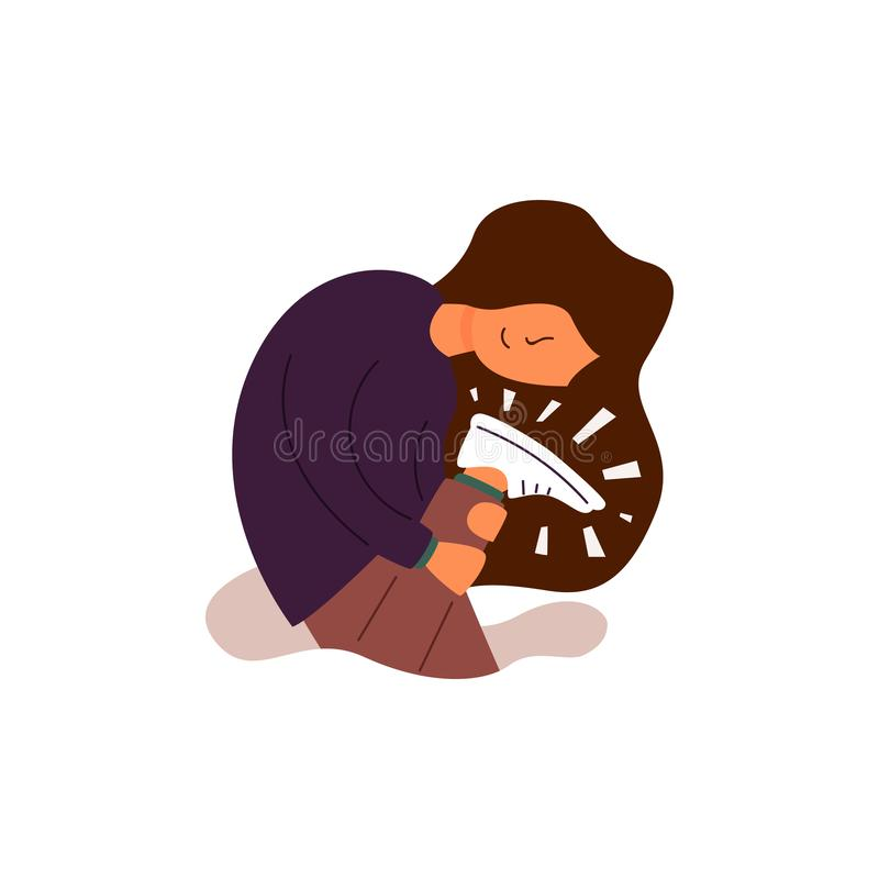 Vector Flat young girl looks at her new shoes. royalty free illustration