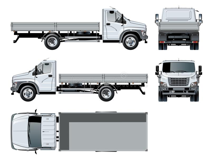 Vector flatbed truck template isolated on white royalty free illustration