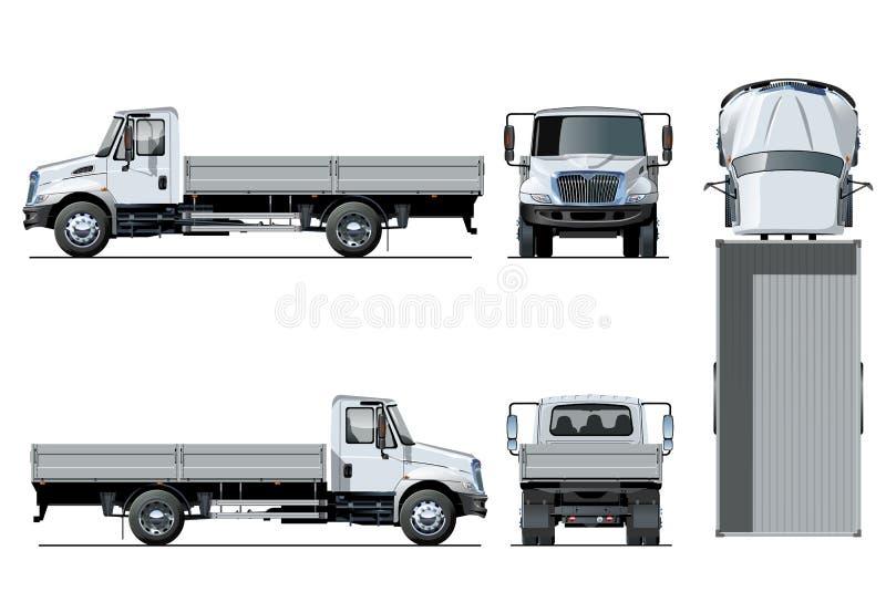 Vector flatbed vrachtwagenmalplaatje dat op wit wordt geïsoleerd royalty-vrije illustratie