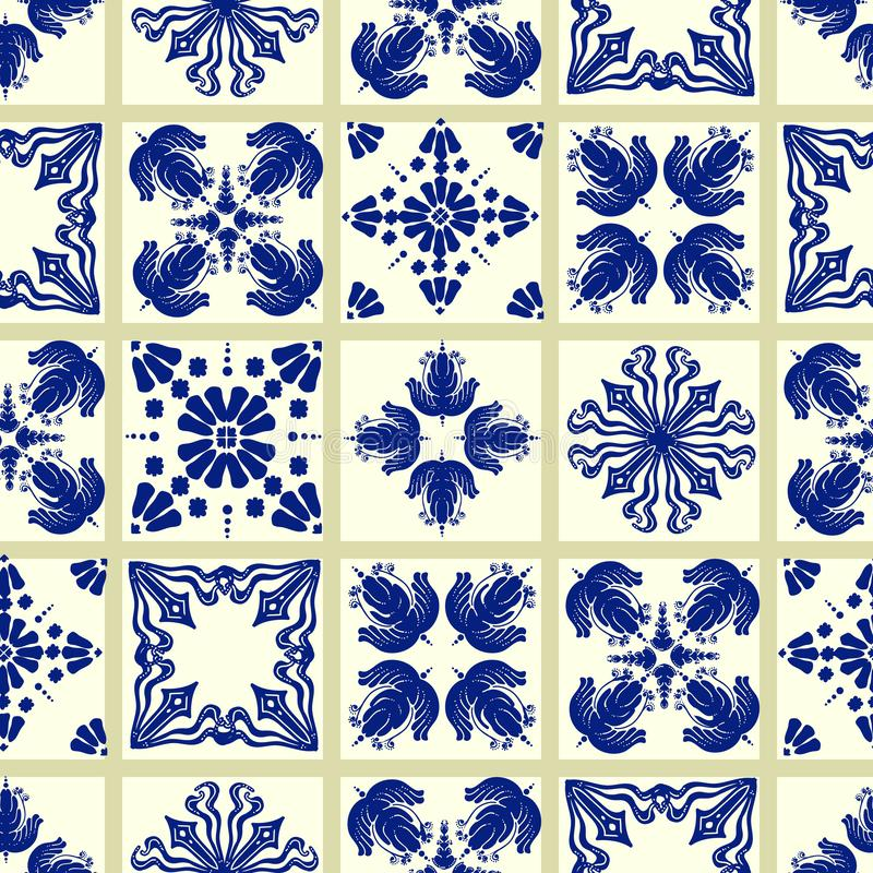 Vector Fliesenmuster, Lissabon-Blumenmosaik, nahtlose Marineblaumittelmeerverzierung vektor abbildung
