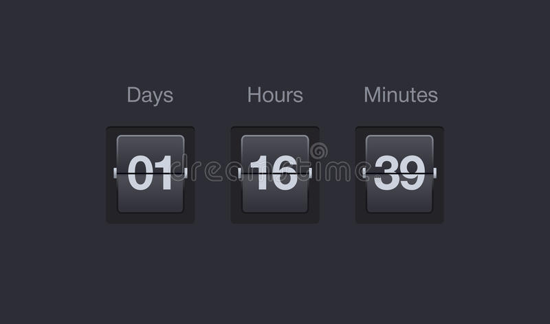 Vector flip countdown timer. Clock counter for websites and interfaces. Days, hours and minutes. royalty free illustration