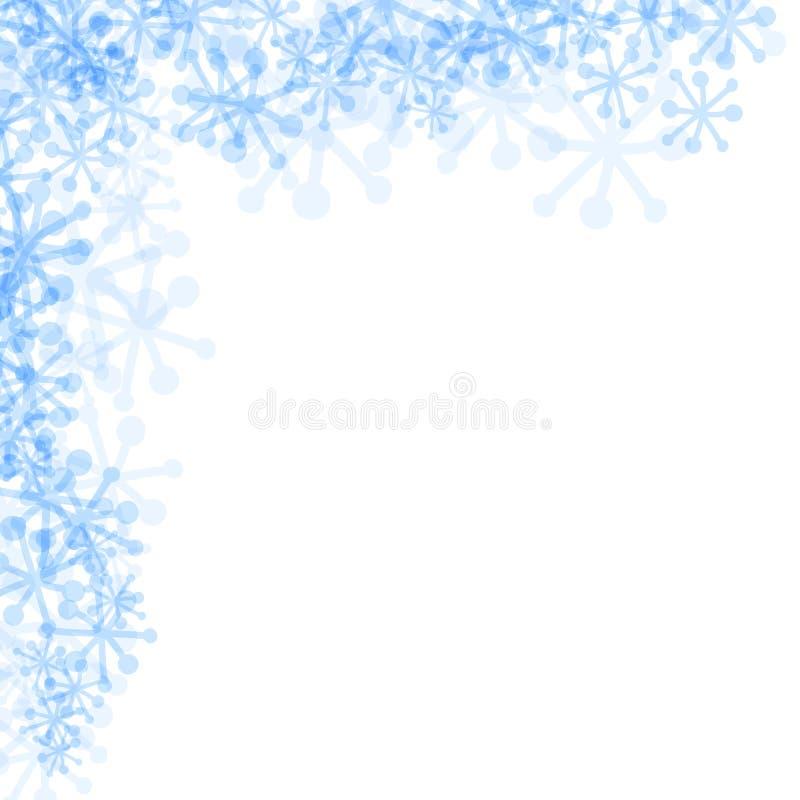 Vector flocos de neve azuis no canto em um fundo branco ilustração stock