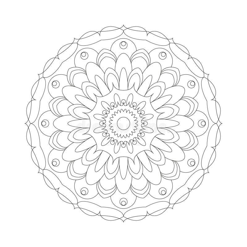Vector a flor circular do sumário da mandala do teste padrão do livro para colorir adulto preto e branco - fundo floral ilustração stock