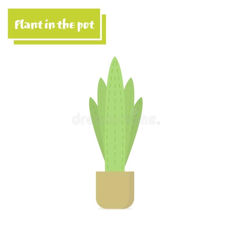 Vector a flor da ilustração, planta que cresce em um potenciômetro Ícone em pasta da planta Pouca plântula da planta ilustração stock