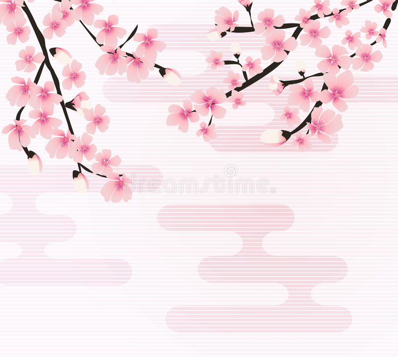 Vector floral abstracto de Sakura Flower Japanese Natural Background libre illustration
