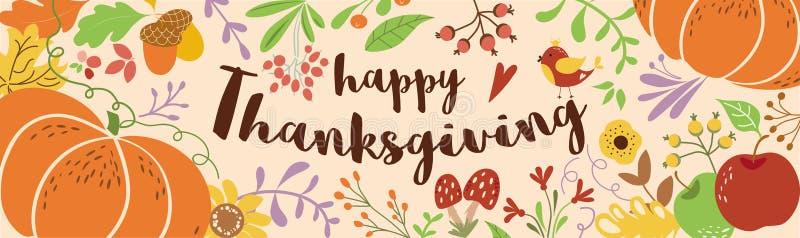 Vector floral adornado texto feliz de los elementos de la calabaza de la acción de gracias de otoño de las hojas del follaje del  libre illustration
