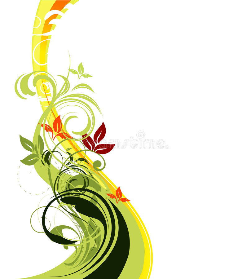 Vector floral background. Floral vector with swirly floral elements stock illustration