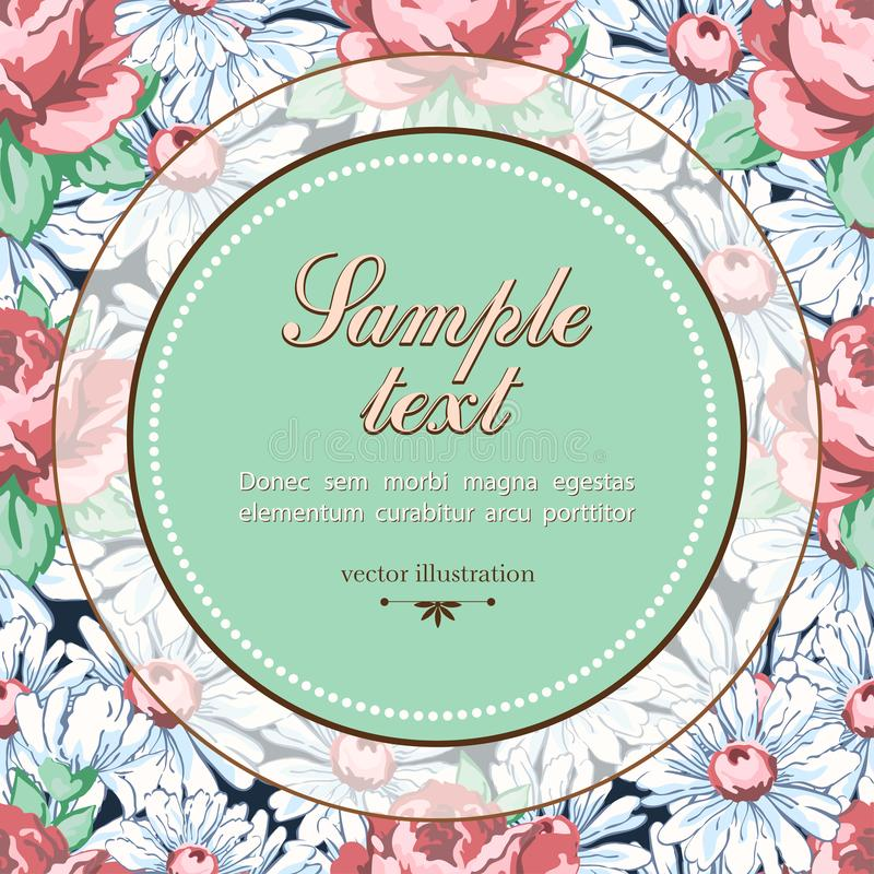 Vector floral background, floral banner, cover, card. Round label for text against the background of drawn buds pink rose flower a stock illustration