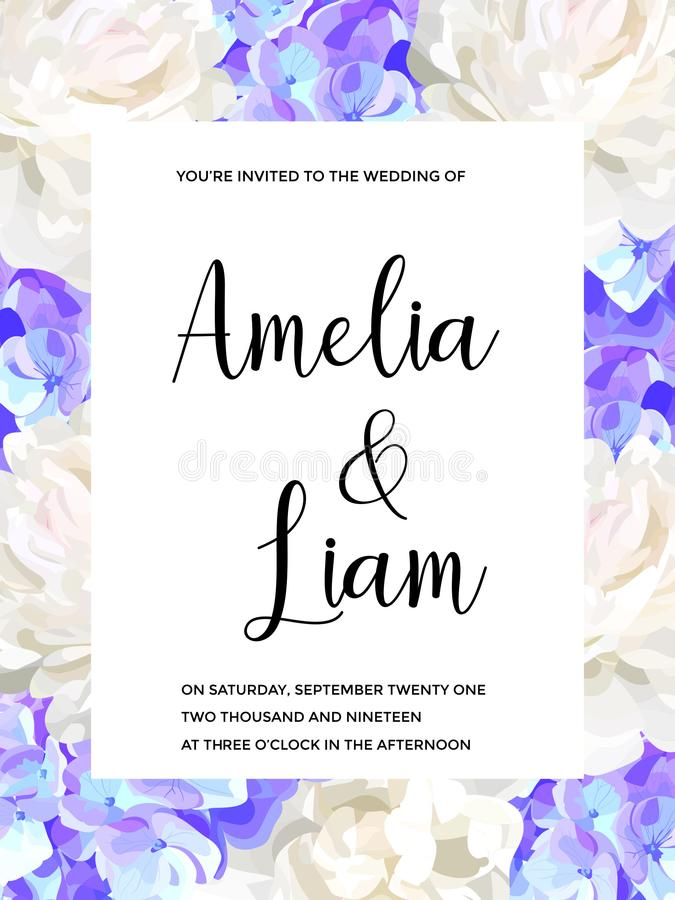 Vector floral wedding invitation with blue hydrangeas, peonies in watercolor style royalty free illustration